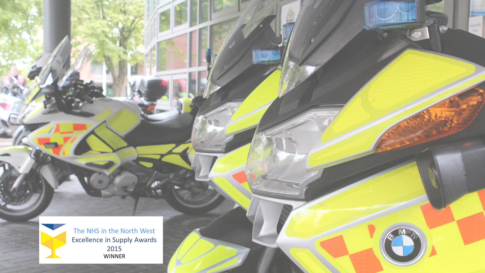 Blood Bikes close up with blue lights