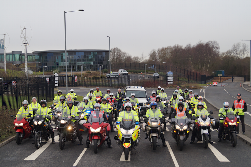 Group of blood bikers with liveried and non-liveried bikes.